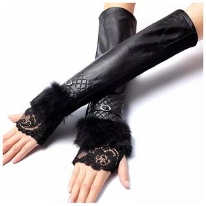 Accessories - Leather Fingerless Zoë Cashmere Lined Gloves